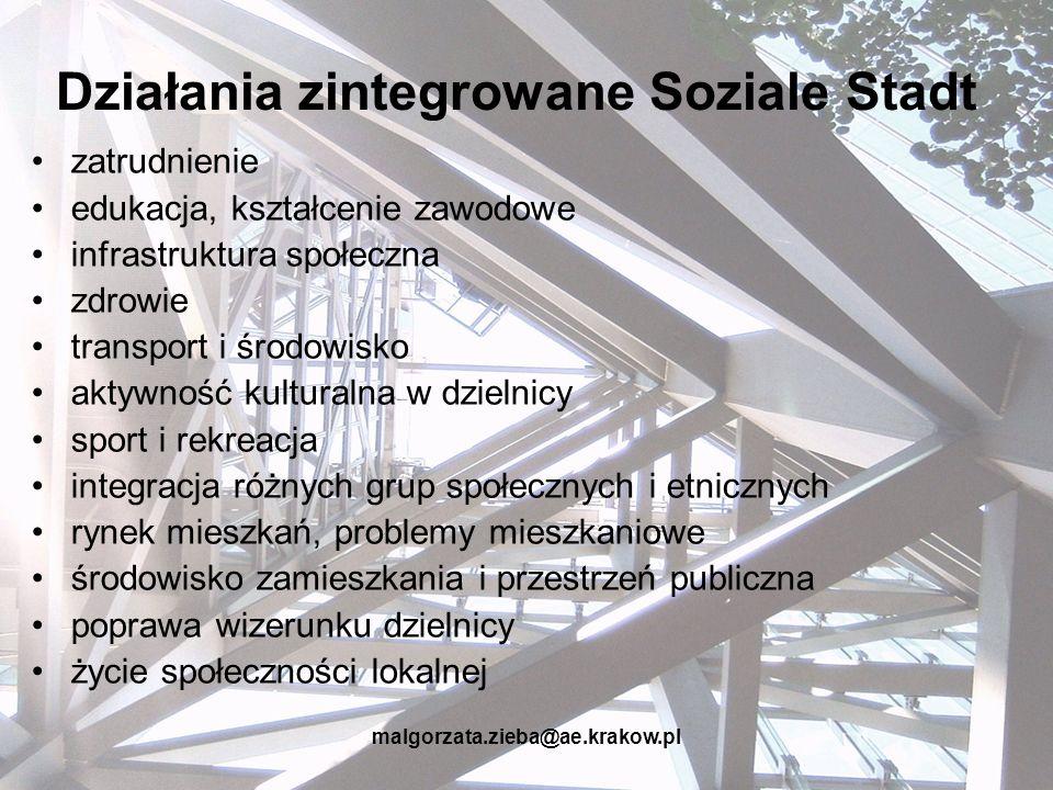 malgorzata.zieba@ae.krakow.pl Działania zintegrowane Soziale Stadt zatrudnienie edukacja, kształcenie zawodowe infrastruktura społeczna zdrowie transp