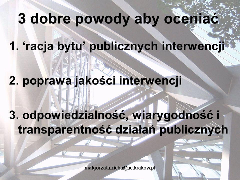 malgorzata.zieba@ae.krakow.pl 3 dobre powody aby oceniać 1. racja bytu publicznych interwencji 2. poprawa jakości interwencji 3. odpowiedzialność, wia