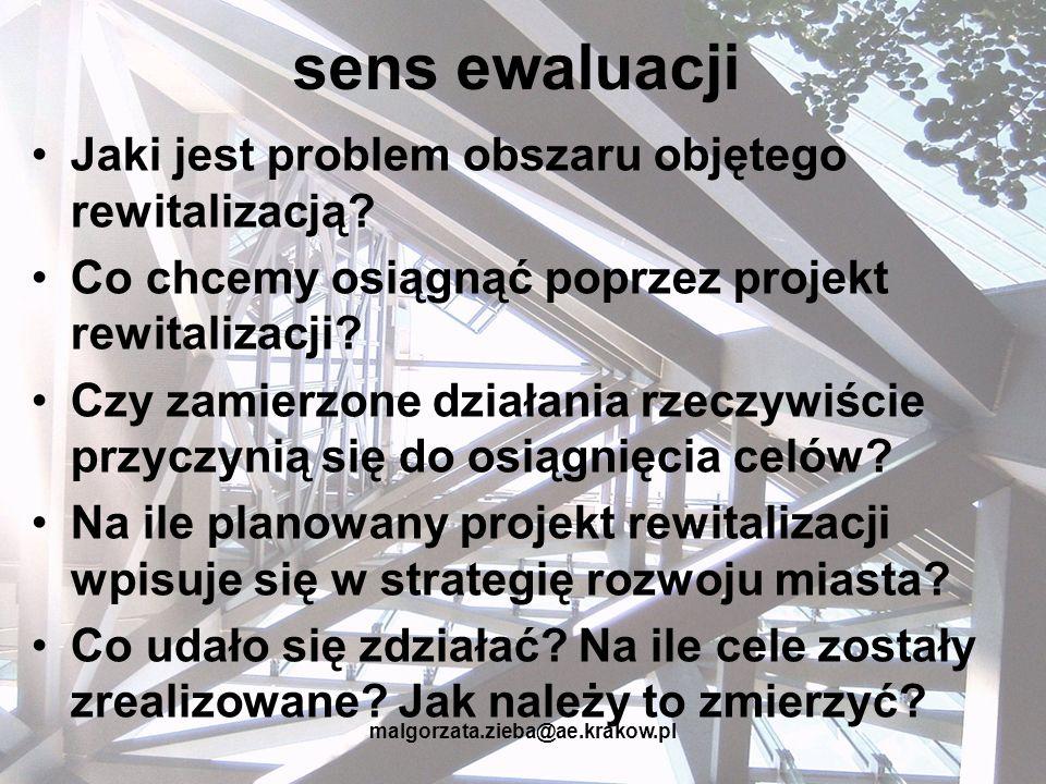 malgorzata.zieba@ae.krakow.pl sens ewaluacji Jaki jest problem obszaru objętego rewitalizacją? Co chcemy osiągnąć poprzez projekt rewitalizacji? Czy z