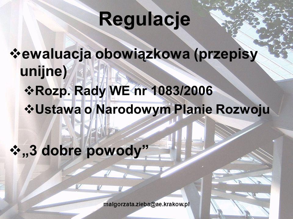 malgorzata.zieba@ae.krakow.pl Typy ewaluacji czas WDRAŻANIE PROGRAMU ETAP IETAP II PLANOWANIE INTERWENCJI EWALUACJA EX-POST EWALUACJA EX-ANTE Zakończenie programu / projektu EWALUACJA MID-TERM EWALUACJA ON-GOING