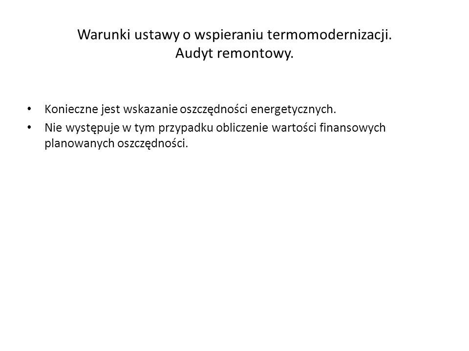 Warunki ustawy o wspieraniu termomodernizacji.Audyt remontowy.