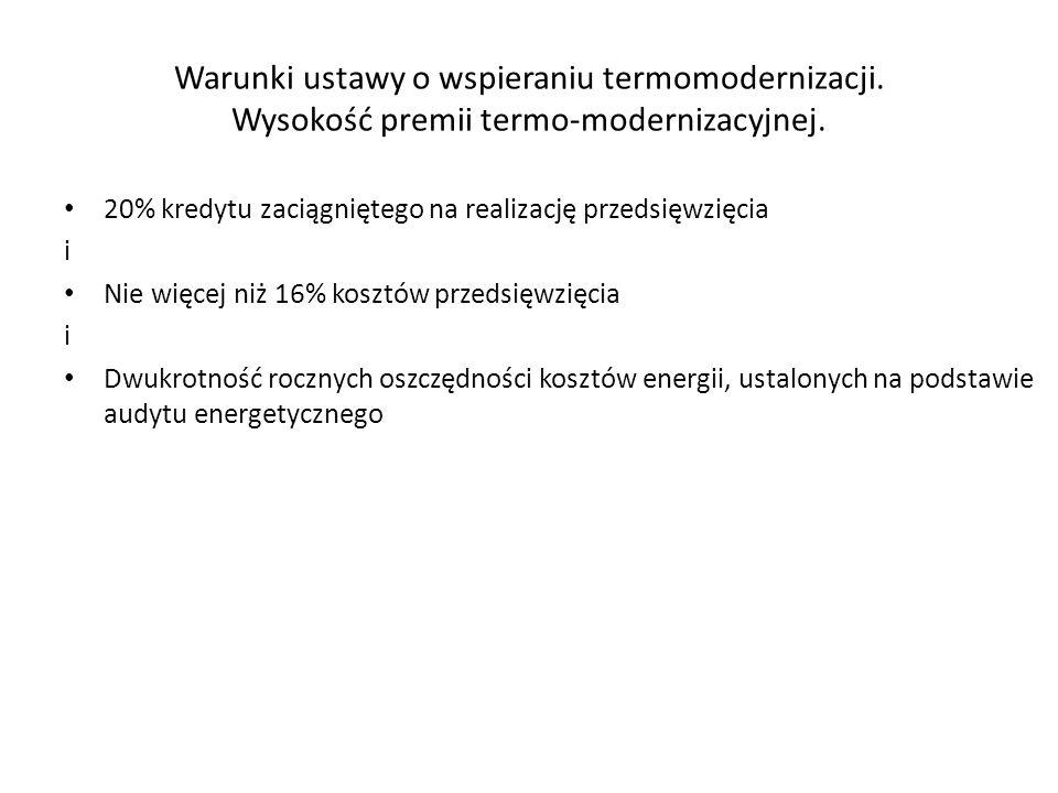 Warunki ustawy o wspieraniu termomodernizacji.Wysokość premii termo-modernizacyjnej.