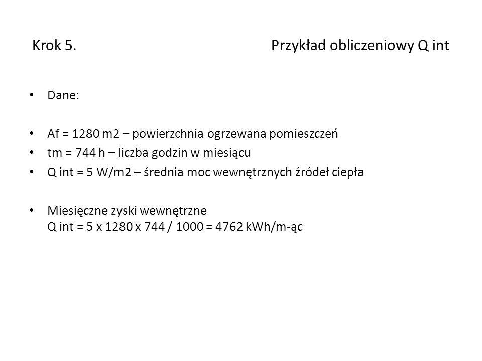 Krok 5. Przykład obliczeniowy Q int Dane: Af = 1280 m2 – powierzchnia ogrzewana pomieszczeń tm = 744 h – liczba godzin w miesiącu Q int = 5 W/m2 – śre