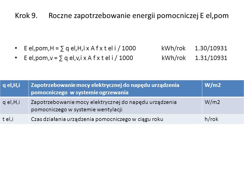 Krok 9. Roczne zapotrzebowanie energii pomocniczej E el,pom E el,pom,H = q el,H,i x A f x t el i / 1000 kWh/rok 1.30/10931 E el,pom,v = q el,v,i x A f