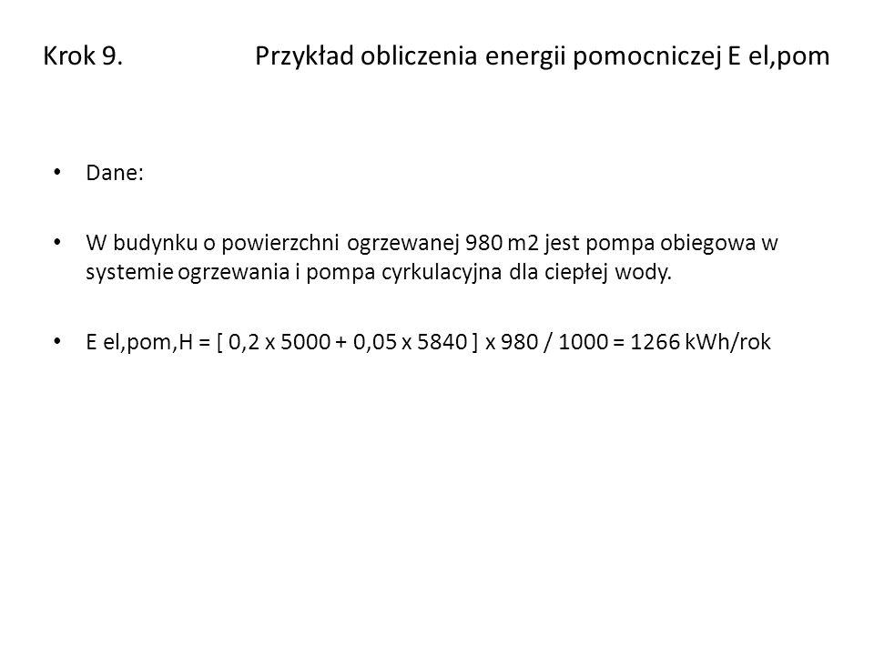 Krok 9. Przykład obliczenia energii pomocniczej E el,pom Dane: W budynku o powierzchni ogrzewanej 980 m2 jest pompa obiegowa w systemie ogrzewania i p