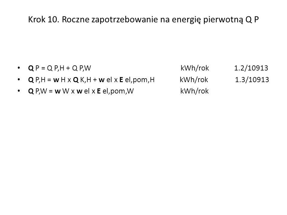 Krok 10. Roczne zapotrzebowanie na energię pierwotną Q P Q P = Q P,H + Q P,W kWh/rok 1.2/10913 Q P,H = w H x Q K,H + w el x E el,pom,H kWh/rok 1.3/109