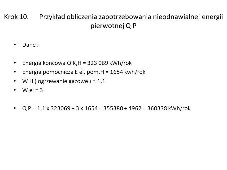 Krok 10. Przykład obliczenia zapotrzebowania nieodnawialnej energii pierwotnej Q P Dane : Energia końcowa Q K,H = 323 069 kWh/rok Energia pomocnicza E