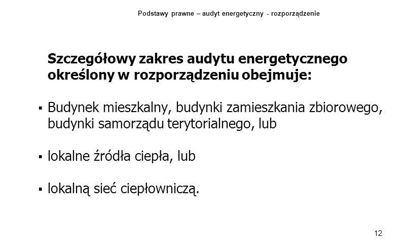 12 Szczegółowy zakres audytu energetycznego określony w rozporządzeniu obejmuje: Budynek mieszkalny, budynki zamieszkania zbiorowego, budynki samorząd