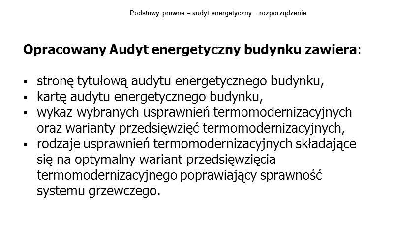 Opracowany Audyt energetyczny budynku zawiera: stronę tytułową audytu energetycznego budynku, kartę audytu energetycznego budynku, wykaz wybranych usp