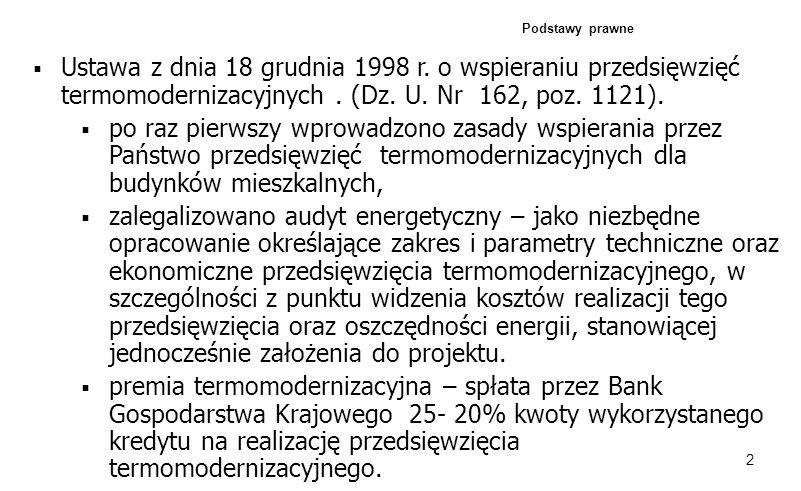 2 Podstawy prawne Ustawa z dnia 18 grudnia 1998 r. o wspieraniu przedsięwzięć termomodernizacyjnych. (Dz. U. Nr 162, poz. 1121). po raz pierwszy wprow