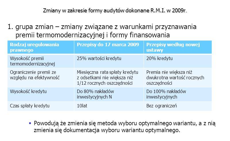 Zmiany w zakresie formy audytów dokonane R.M.I. w 2009r. 1. grupa zmian – zmiany związane z warunkami przyznawania premii termomodernizacyjnej i formy
