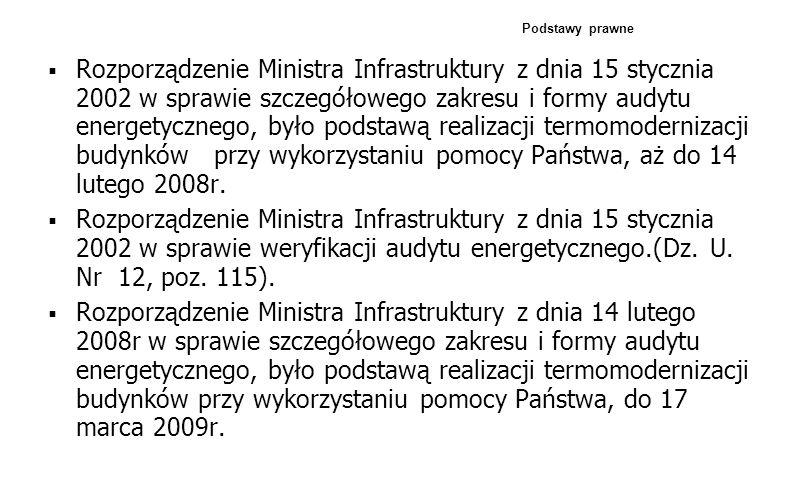 Rozporządzenie Ministra Infrastruktury z dnia 15 stycznia 2002 w sprawie szczegółowego zakresu i formy audytu energetycznego, było podstawą realizacji