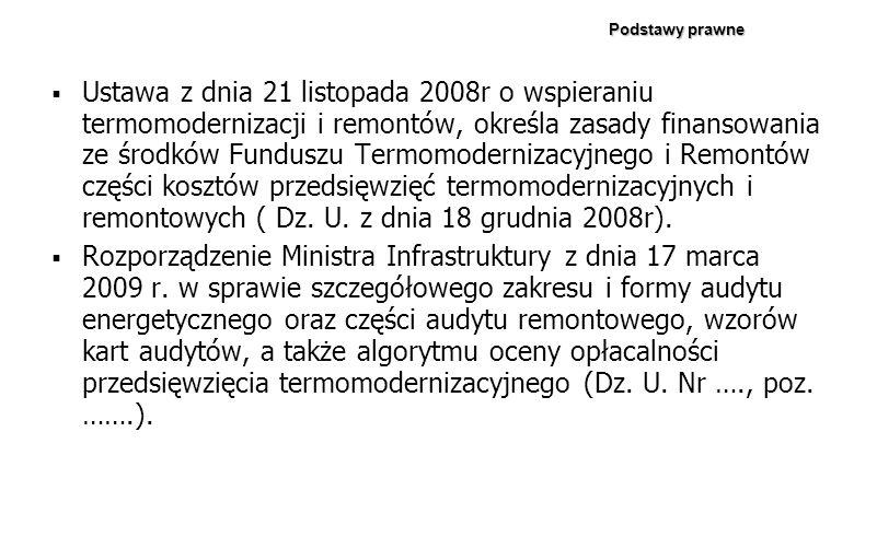 Ustawa z dnia 21 listopada 2008r o wspieraniu termomodernizacji i remontów, określa zasady finansowania ze środków Funduszu Termomodernizacyjnego i Re