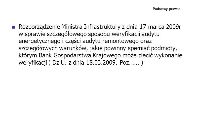 Podstawy prawne Rozporządzenie Ministra Infrastruktury z dnia 17 marca 2009r w sprawie szczegółowego sposobu weryfikacji audytu energetycznego i częśc
