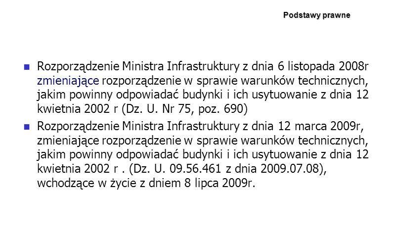 Podstawy prawne Rozporządzenie Ministra Infrastruktury z dnia 6 listopada 2008r zmieniające rozporządzenie w sprawie warunków technicznych, jakim powi