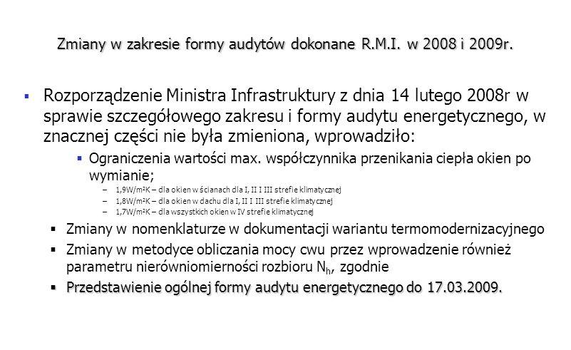 Zmiany w zakresie formy audytów dokonane R.M.I. w 2008 i 2009r. Rozporządzenie Ministra Infrastruktury z dnia 14 lutego 2008r w sprawie szczegółowego