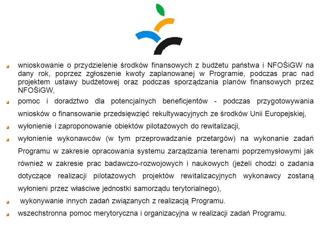 wnioskowanie o przydzielenie środków finansowych z budżetu państwa i NFOŚiGW na dany rok, poprzez zgłoszenie kwoty zaplanowanej w Programie, podczas p