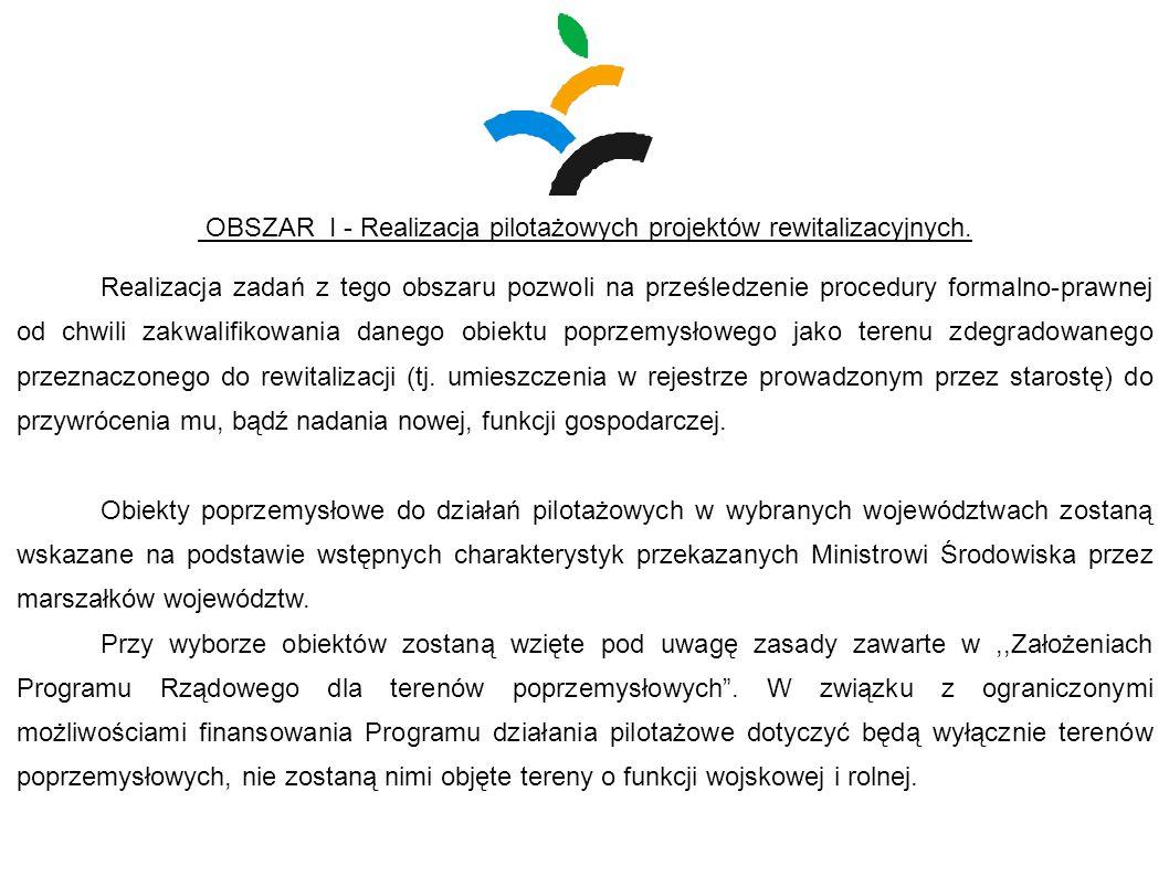 OBSZAR I - Realizacja pilotażowych projektów rewitalizacyjnych. Realizacja zadań z tego obszaru pozwoli na prześledzenie procedury formalno-prawnej od
