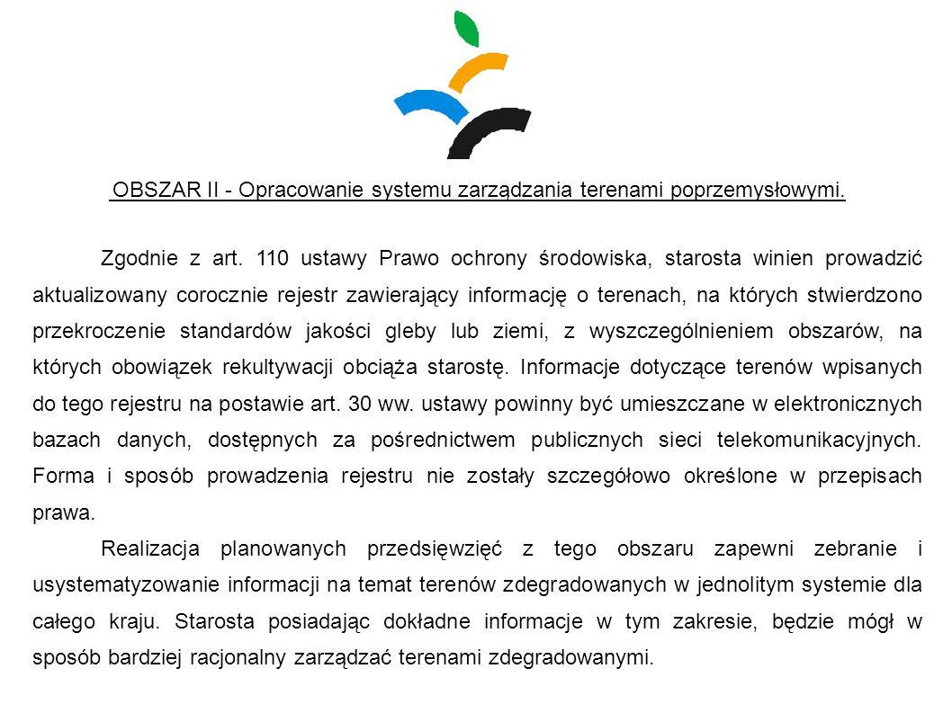 OBSZAR II - Opracowanie systemu zarządzania terenami poprzemysłowymi. Zgodnie z art. 110 ustawy Prawo ochrony środowiska, starosta winien prowadzić ak