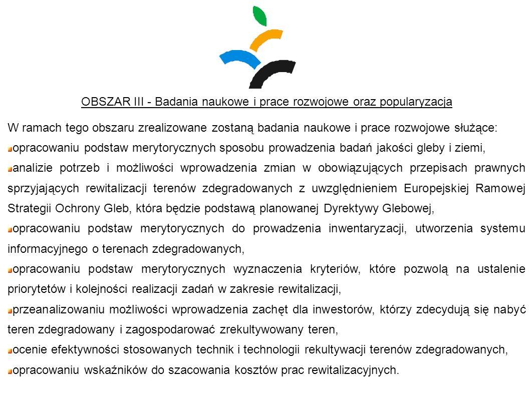 OBSZAR III - Badania naukowe i prace rozwojowe oraz popularyzacja W ramach tego obszaru zrealizowane zostaną badania naukowe i prace rozwojowe służące
