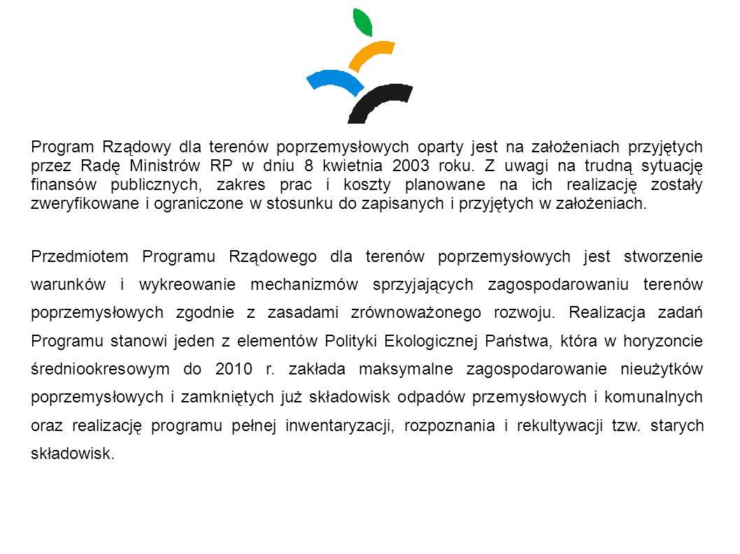 Program Rządowy dla terenów poprzemysłowych oparty jest na założeniach przyjętych przez Radę Ministrów RP w dniu 8 kwietnia 2003 roku. Z uwagi na trud