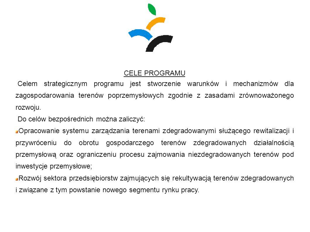 CELE PROGRAMU Celem strategicznym programu jest stworzenie warunków i mechanizmów dla zagospodarowania terenów poprzemysłowych zgodnie z zasadami zrów