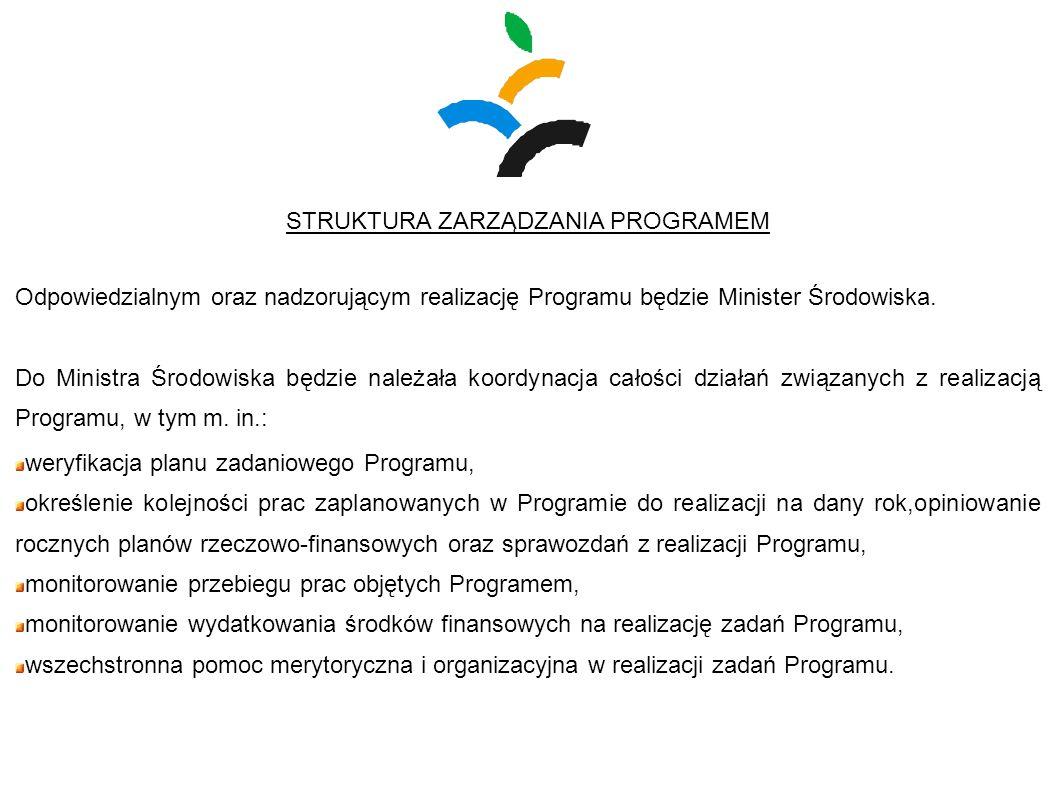 STRUKTURA ZARZĄDZANIA PROGRAMEM Odpowiedzialnym oraz nadzorującym realizację Programu będzie Minister Środowiska. Do Ministra Środowiska będzie należa