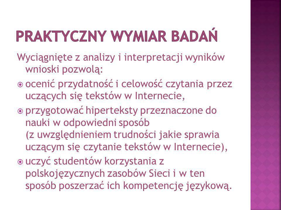 Wyciągnięte z analizy i interpretacji wyników wnioski pozwolą: ocenić przydatność i celowość czytania przez uczących się tekstów w Internecie, przygotować hiperteksty przeznaczone do nauki w odpowiedni sposób (z uwzględnieniem trudności jakie sprawia uczącym się czytanie tekstów w Internecie), uczyć studentów korzystania z polskojęzycznych zasobów Sieci i w ten sposób poszerzać ich kompetencję językową.