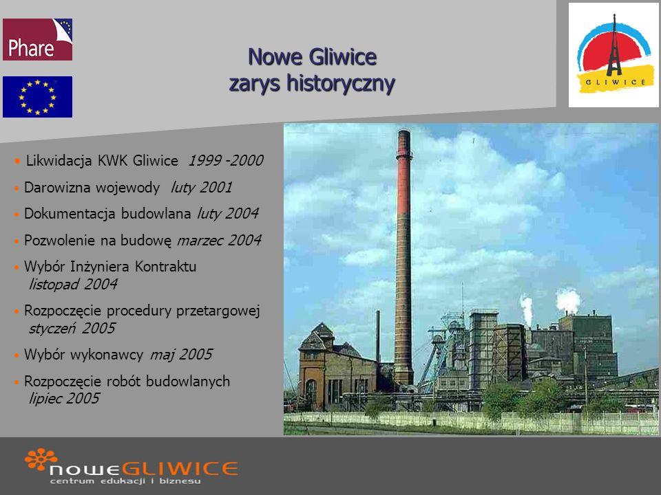 Nowe Gliwice zarys historyczny Likwidacja KWK Gliwice 1999 -2000 Darowizna wojewody luty 2001 Dokumentacja budowlana luty 2004 Pozwolenie na budowę ma