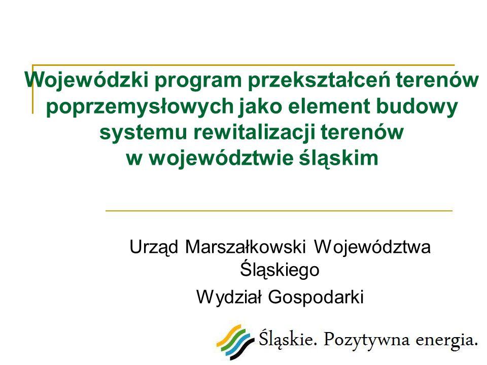 Wojewódzki program przekształceń terenów poprzemysłowych jako element budowy systemu rewitalizacji terenów w województwie śląskim Urząd Marszałkowski