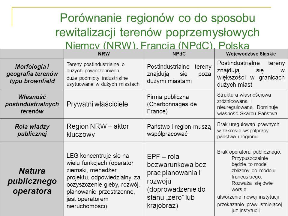 Porównanie regionów co do sposobu rewitalizacji terenów poprzemysłowych Niemcy (NRW), Francja (NPdC), Polska NRWNPdCWojewództwo Śląskie Morfologia i g