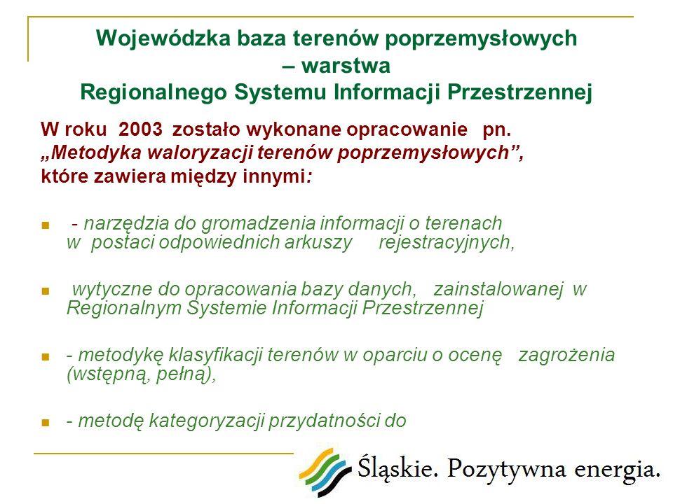 Wojewódzka baza terenów poprzemysłowych – warstwa Regionalnego Systemu Informacji Przestrzennej W roku 2003 zostało wykonane opracowanie pn. Metodyka