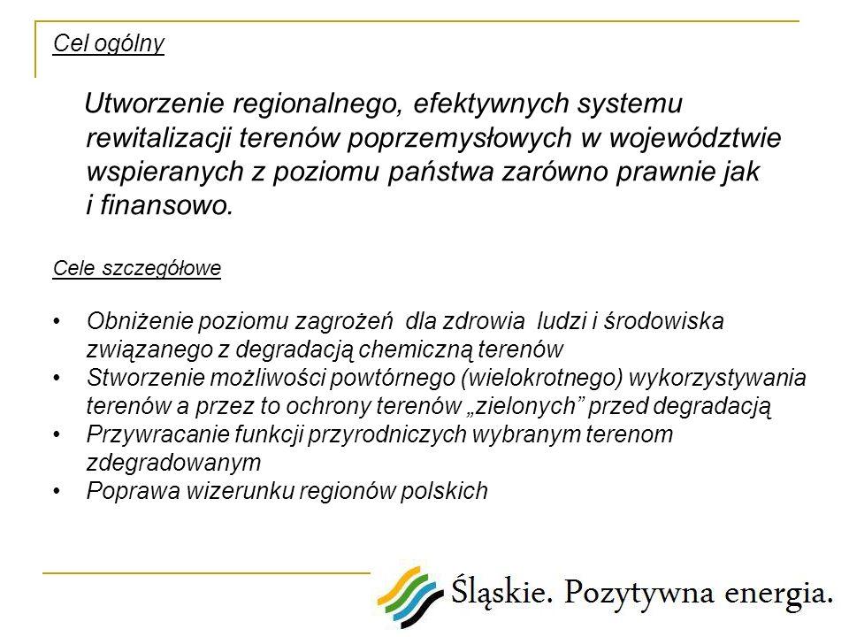 Cel ogólny Utworzenie regionalnego, efektywnych systemu rewitalizacji terenów poprzemysłowych w województwie wspieranych z poziomu państwa zarówno pra