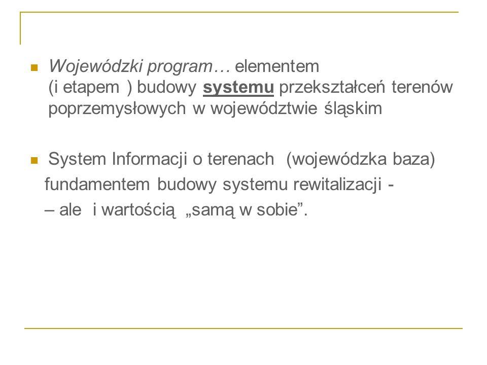 Wojewódzki program… elementem (i etapem ) budowy systemu przekształceń terenów poprzemysłowych w województwie śląskim System Informacji o terenach (wo