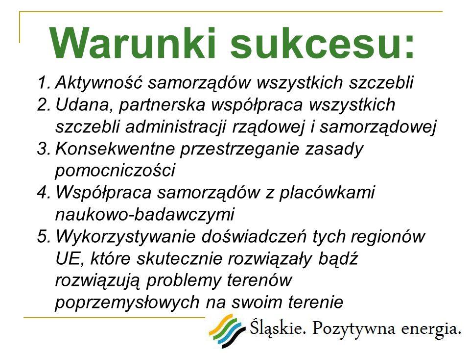 1.Aktywność samorządów wszystkich szczebli 2.Udana, partnerska współpraca wszystkich szczebli administracji rządowej i samorządowej 3.Konsekwentne prz