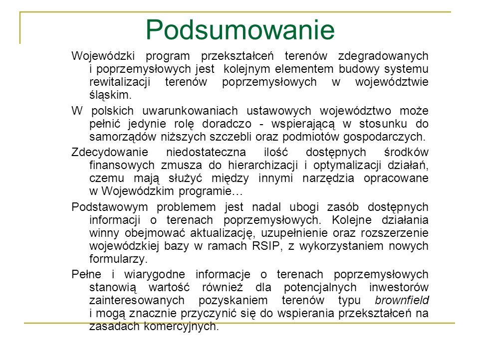 Podsumowanie Wojewódzki program przekształceń terenów zdegradowanych i poprzemysłowych jest kolejnym elementem budowy systemu rewitalizacji terenów po