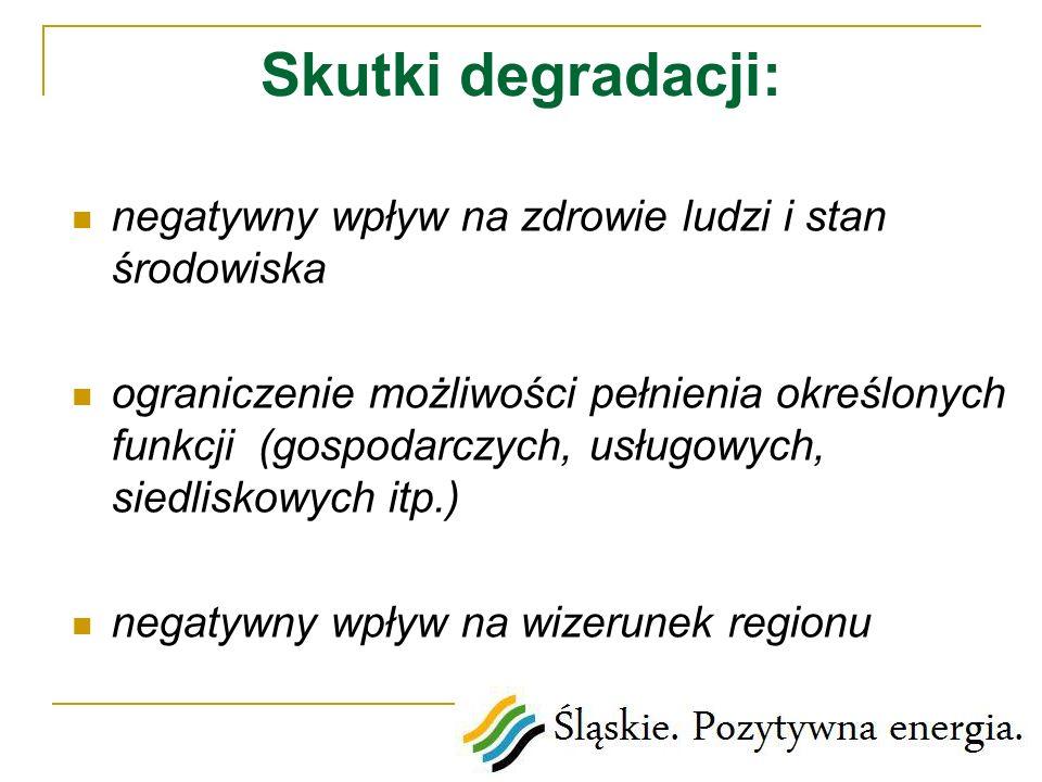 Skutki degradacji: negatywny wpływ na zdrowie ludzi i stan środowiska ograniczenie możliwości pełnienia określonych funkcji (gospodarczych, usługowych