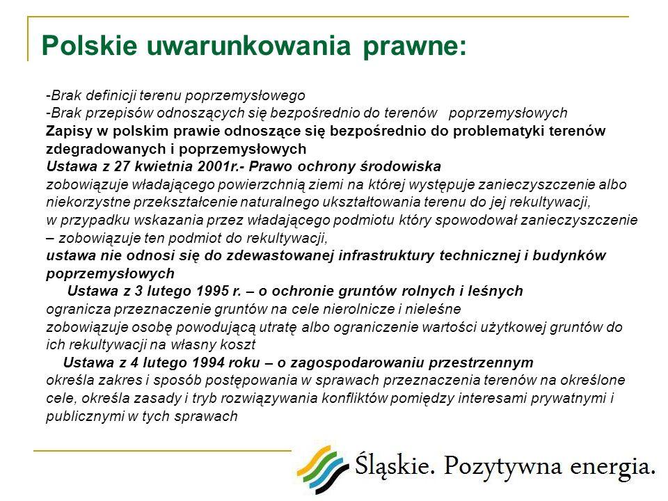 Polskie uwarunkowania prawne: -Brak definicji terenu poprzemysłowego -Brak przepisów odnoszących się bezpośrednio do terenów poprzemysłowych Zapisy w