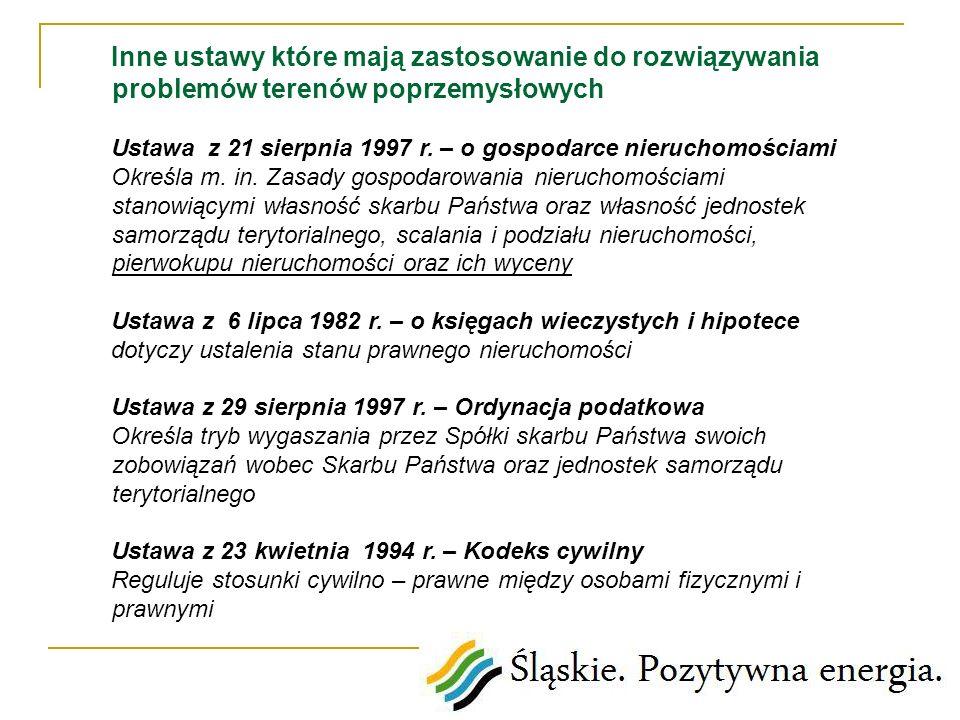 Inne ustawy które mają zastosowanie do rozwiązywania problemów terenów poprzemysłowych Ustawa z 21 sierpnia 1997 r. – o gospodarce nieruchomościami Ok