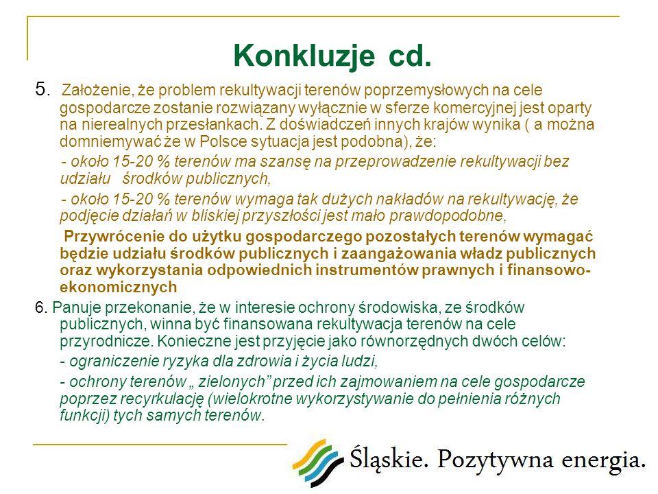 Konkluzje cd. 5. Założenie, że problem rekultywacji terenów poprzemysłowych na cele gospodarcze zostanie rozwiązany wyłącznie w sferze komercyjnej jes