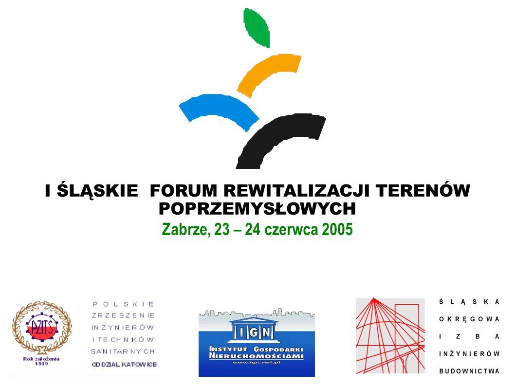I ŚLĄSKIE FORUM REWITALIZACJI TERENÓW POPRZEMYSŁOWYCH Zabrze, 23 – 24 czerwca 2005