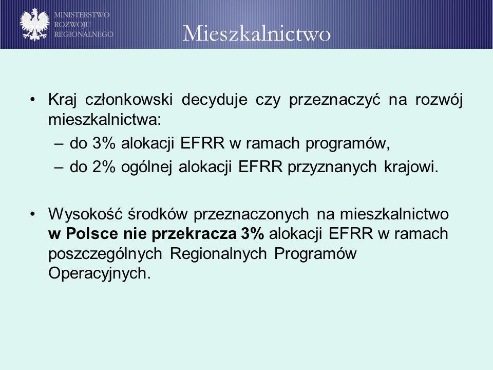 Kraj członkowski decyduje czy przeznaczyć na rozwój mieszkalnictwa: –do 3% alokacji EFRR w ramach programów, –do 2% ogólnej alokacji EFRR przyznanych