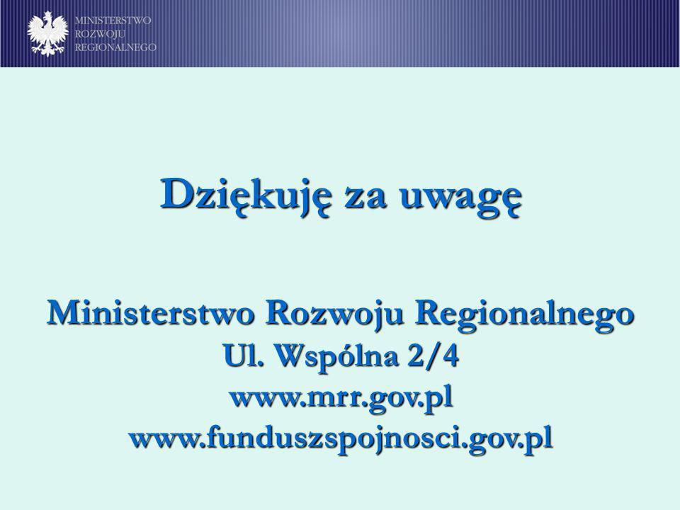 Ministerstwo Rozwoju Regionalnego Ul. Wspólna 2/4 www.mrr.gov.pl www.funduszspojnosci.gov.pl Dziękuję za uwagę