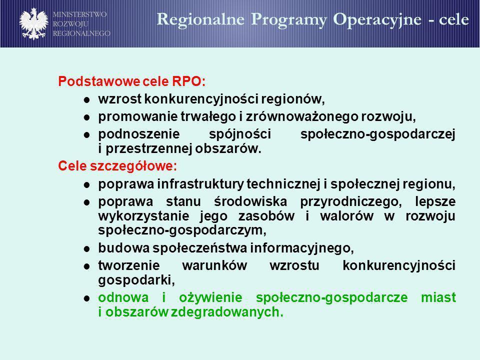 Podstawowe cele RPO: wzrost konkurencyjności regionów, promowanie trwałego i zrównoważonego rozwoju, podnoszenie spójności społeczno-gospodarczej i pr
