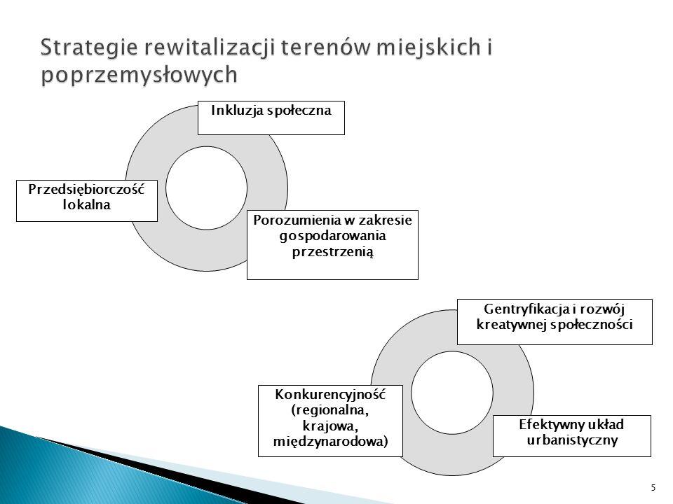 Gmina jako bezpośredni inwestor w procesie rewitalizacji Gmina jako organizator rynku nieruchomości i pośredni inwestor w procesie rewitalizacji Finansowanie przedsięwzięć związanych z rewitalizacją miejskich przestrzeni i obiektów publicznych (ulice, place, parki, obiekty użyteczności publicznej) Instrumenty prawne: Prawo pierwokupu lub wywłaszczenie na cele publiczne Podział oraz scalanie i podział nieruchomości Instrumenty finansowe: Środki własne Obligacje komunalne Kredyty i pożyczki bankowe Środki z funduszy strukturalnych UE Inne środki pomocowe Leasing nieruchomości Stymulowanie inwestycji realizowanych przez sektory prywatny (biznesowy) oraz obywatelski Instrumenty polityki lokalnej: Polityka przestrzenna: strefowanie, działania ograniczające dekoncentrację przestrzenną miasta (UGB -urban growth boundaries, przestrzenne limity na budowę, tworzenie pasów zieleni, tzw.