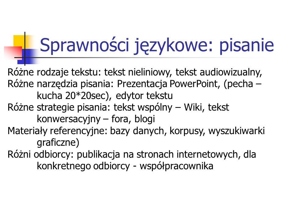 Sprawności językowe: pisanie Różne rodzaje tekstu: tekst nieliniowy, tekst audiowizualny, Różne narzędzia pisania: Prezentacja PowerPoint, (pecha – kucha 20*20sec), edytor tekstu Różne strategie pisania: tekst wspólny – Wiki, tekst konwersacyjny – fora, blogi Materiały referencyjne: bazy danych, korpusy, wyszukiwarki graficzne) Różni odbiorcy: publikacja na stronach internetowych, dla konkretnego odbiorcy - współpracownika