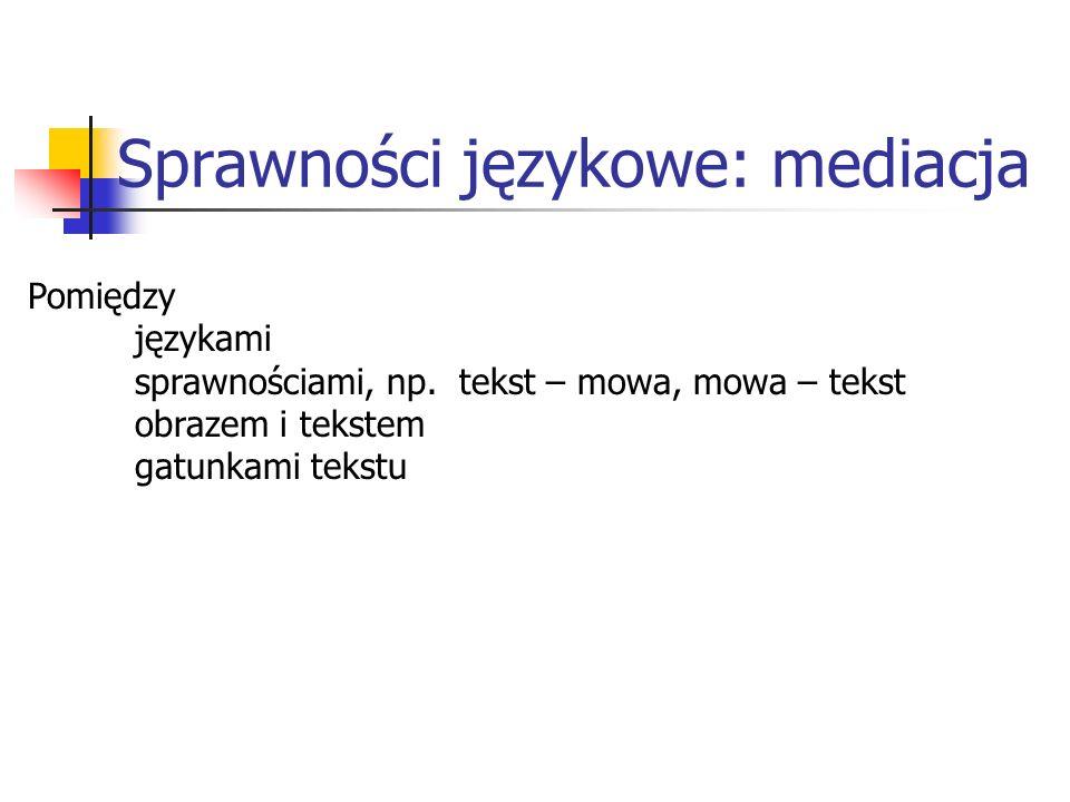 Sprawności językowe: mediacja Pomiędzy językami sprawnościami, np.
