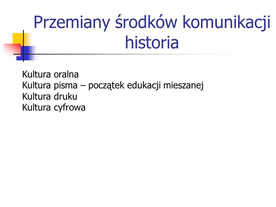 Przemiany środków komunikacji historia Kultura oralna Kultura pisma – początek edukacji mieszanej Kultura druku Kultura cyfrowa
