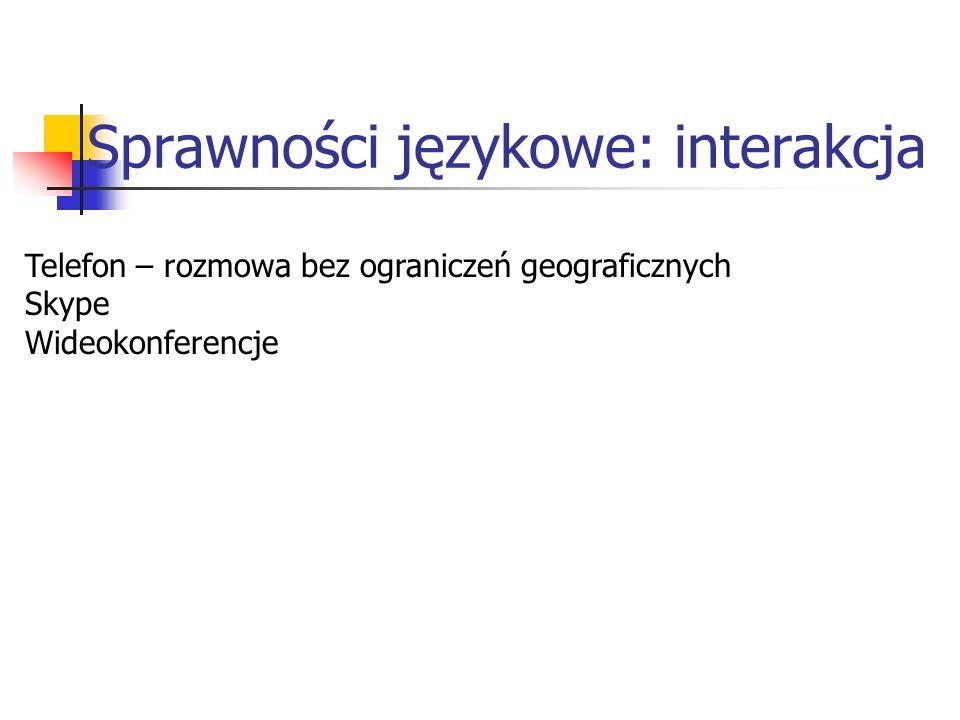 Sprawności językowe: interakcja Telefon – rozmowa bez ograniczeń geograficznych Skype Wideokonferencje