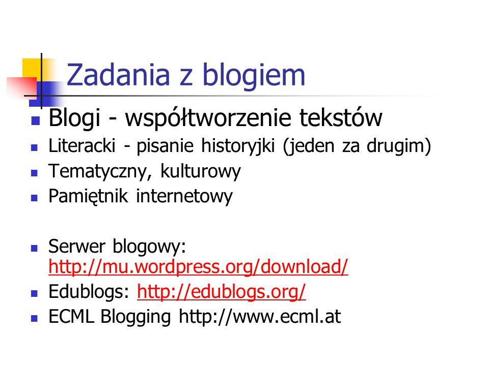 Zadania z blogiem Blogi - współtworzenie tekstów Literacki - pisanie historyjki (jeden za drugim) Tematyczny, kulturowy Pamiętnik internetowy Serwer blogowy: http://mu.wordpress.org/download/ http://mu.wordpress.org/download/ Edublogs: http://edublogs.org/http://edublogs.org/ ECML Blogging http://www.ecml.at